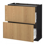 МЕТОД / МАКСИМЕРА Напольный шкаф с 2 ящиками - 80x37 см, Экестад дуб, под дерево черный
