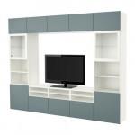 БЕСТО Шкаф для ТВ, комбин/стеклян дверцы - белый/Вальвикен серо-бирюзовый, прозрачное стекло, направляющие ящика,нажимные