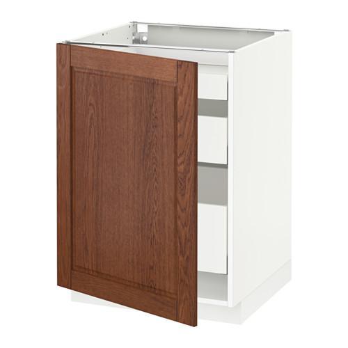 МЕТОД / МАКСИМЕРА Напольный шкаф с 1двр/3ящ - 60x60 см, Филипстад коричневый, белый