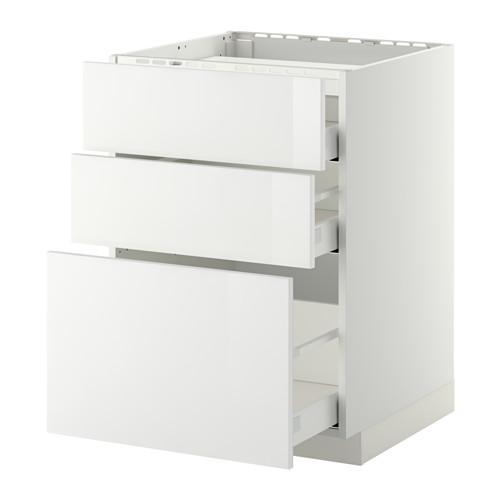 МЕТОД / МАКСИМЕРА Напольн шкаф/3фронт пнл/3ящика - 60x60 см, Рингульт глянцевый белый, белый