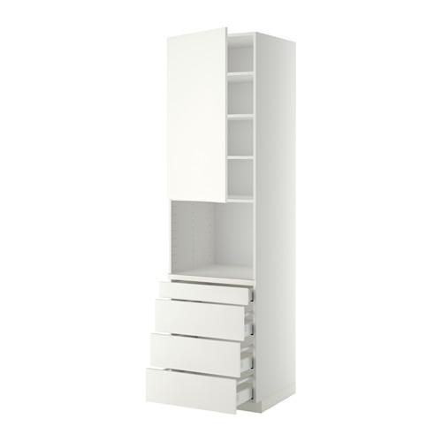 МЕТОД / МАКСИМЕРА Высокий шкаф д/комбинир СВЧ/4 ящика - 60x60x220 см, Хэггеби белый, белый