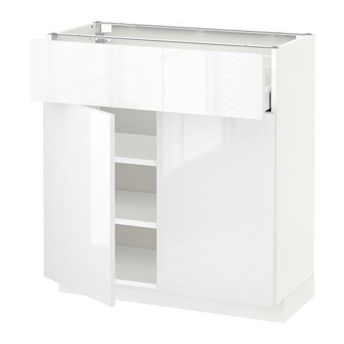 МЕТОД / МАКСИМЕРА Напольный шкаф+ящик/2дверцы - 80x37 см, Рингульт глянцевый белый, белый