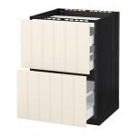 МЕТОД / МАКСИМЕРА Напольн шкаф/2 фронт пнл/3 ящика - 60x60 см, Хитарп белый с оттенком, под дерево черный