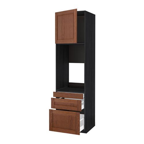 МЕТОД / МАКСИМЕРА Выс шкаф д/двойн духовки/3ящ/дверца - под дерево черный, Филипстад коричневый, 60x60x220 см
