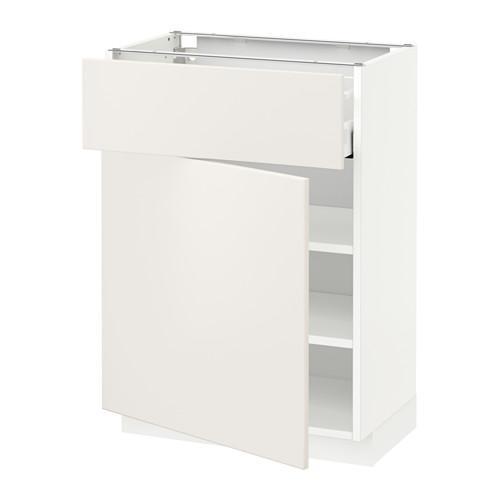МЕТОД / МАКСИМЕРА Напольный шкаф с ящиком/дверью - 60x37 см, Веддинге белый, белый