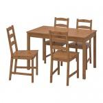 JOKKMOKK bord og 4 stol flekk, antikk