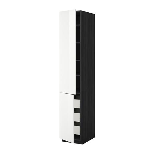 МЕТОД / МАКСИМЕРА Высокий шкаф+полки/3 ящика/2 дверцы - 40x60x220 см, Рингульт глянцевый белый, под дерево черный