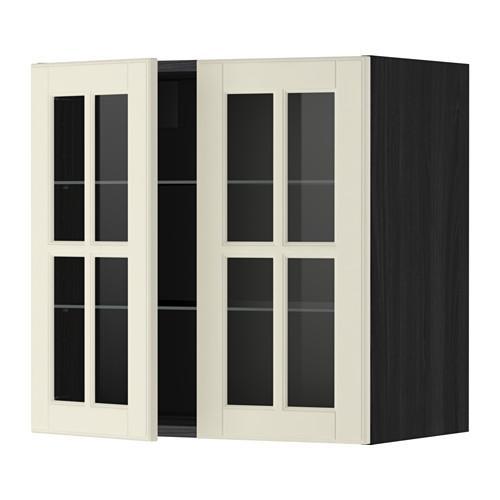 МЕТОД Навесной шкаф с полками/2 стекл дв - 60x60 см, Будбин белый с оттенком, под дерево черный