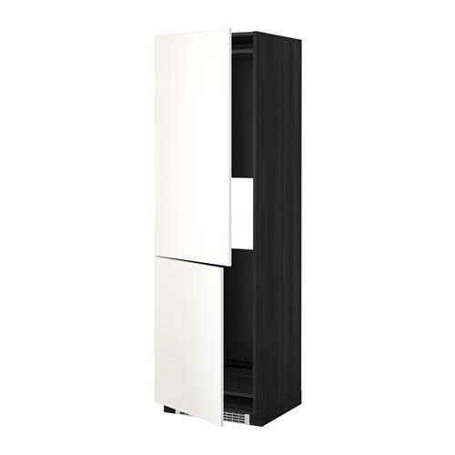 МЕТОД Выс шкаф д/холодильн или морозильн - 60x60x200 см, Веддинге белый, под дерево черный