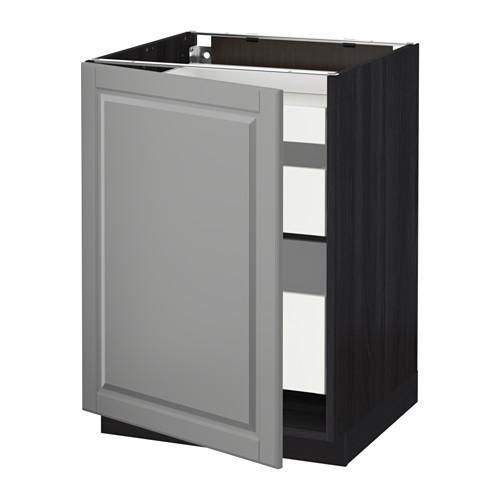 МЕТОД / МАКСИМЕРА Напольный шкаф с 1двр/3ящ - 60x60 см, Будбин серый, под дерево черный