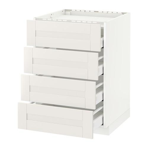 МЕТОД / МАКСИМЕРА Напольн шкаф/4фронт пнл/4ящика - 60x60 см, Сэведаль белый, белый