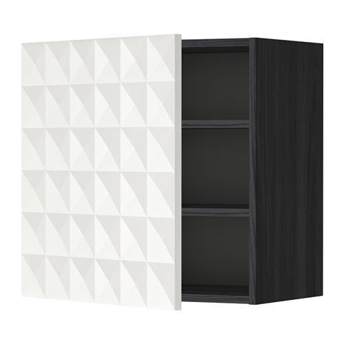 МЕТОД Шкаф навесной с полкой - 60x60 см, Гэррестад белый, под дерево черный