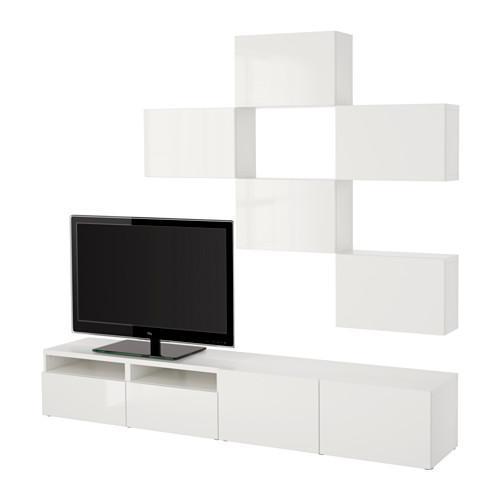 БЕСТО Шкаф для ТВ, комбинация - белый/Сельсвикен глянцевый/белый, направляющие ящика, плавно закр