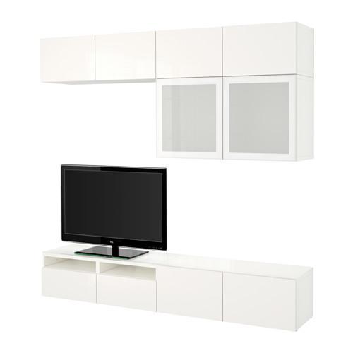 Bessto Cabinet For Tv Combin Glass Doors White Selsviken