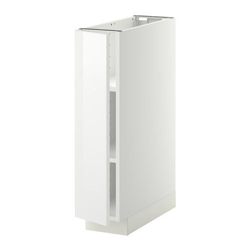 МЕТОД Напольный шкаф с полками - 20x60 см, Рингульт глянцевый белый, белый