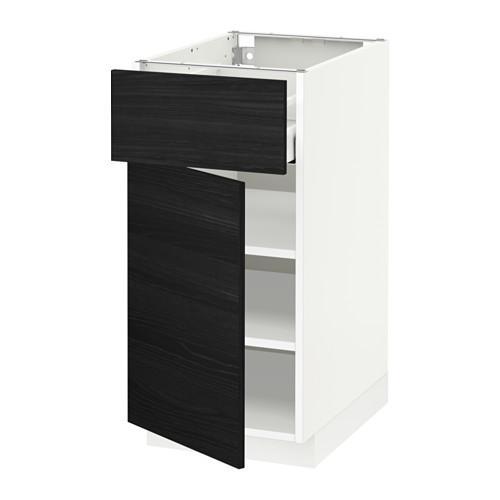 МЕТОД / МАКСИМЕРА Напольный шкаф с ящиком/дверью - 40x60 см, Тингсрид под дерево черный, белый
