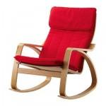Poeng chaise berçante - placage chêne, Ransta rouge