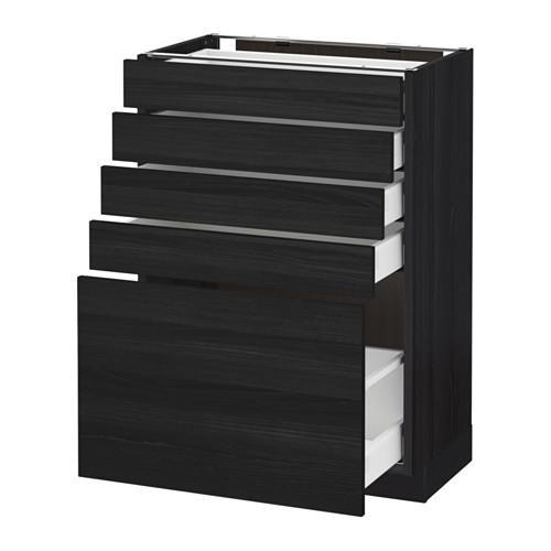 МЕТОД / МАКСИМЕРА Напольный шкаф с 5 ящиками - 60x37 см, Тингсрид под дерево черный, под дерево черный