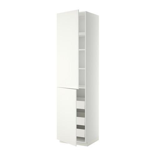 МЕТОД / МАКСИМЕРА Высокий шкаф+полки/3 ящика/2 дверцы - 60x60x240 см, Хэггеби белый, белый