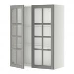 МЕТОД Навесной шкаф с полками/2 стекл дв - 80x100 см, Будбин серый, белый