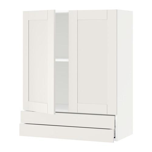 МЕТОД / МАКСИМЕРА Навесной шкаф/2дверцы/2ящика - 80x100 см, Сэведаль белый, белый