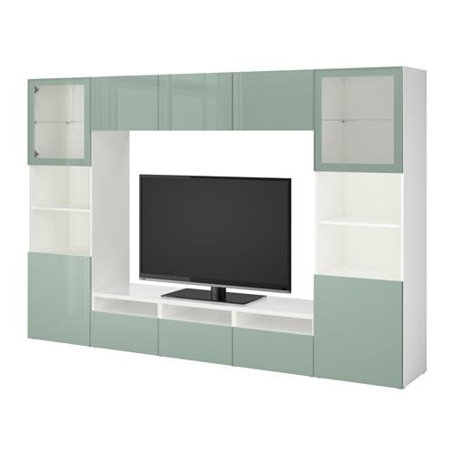 Best meuble tv combin porte en verre blanc for Meuble tv combine