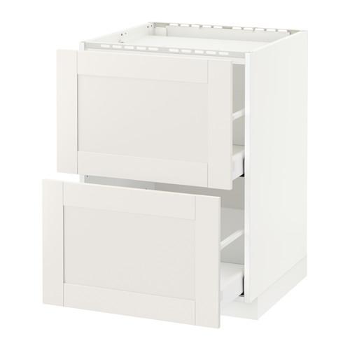 МЕТОД / МАКСИМЕРА Напольн шкаф/2фронт пнл/3ящика - 60x60 см, Сэведаль белый, белый