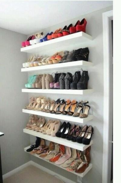 LACK shelves and shoe storage
