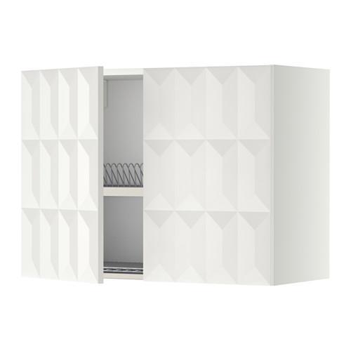 МЕТОД Навесной шкаф с посуд суш/2 дврц - 80x60 см, Гэррестад белый, белый