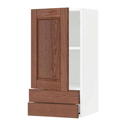 МЕТОД / МАКСИМЕРА Навесной шкаф с дверцей/2 ящика - 40x80 см, Филипстад коричневый, белый