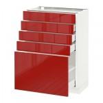 МЕТОД / МАКСИМЕРА Напольный шкаф с 5 ящиками - 60x37 см, Рингульт глянцевый красный, белый
