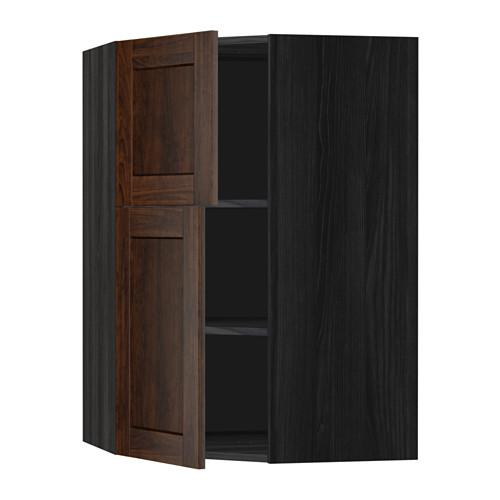 МЕТОД Угловой навесной шкаф+полки/2дверцы - Эдсерум под дерево коричневый, под дерево черный