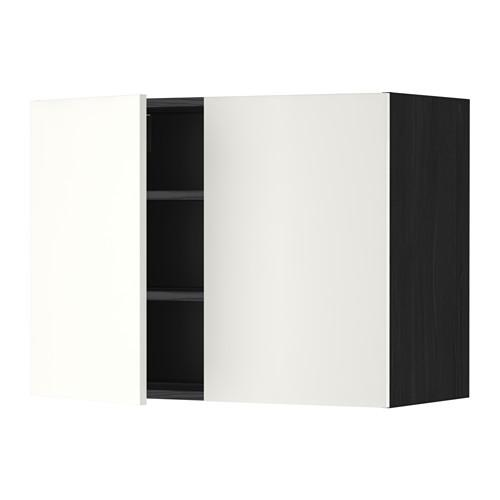 МЕТОД Навесной шкаф с полками/2дверцы - 80x60 см, Хэггеби белый, под дерево черный