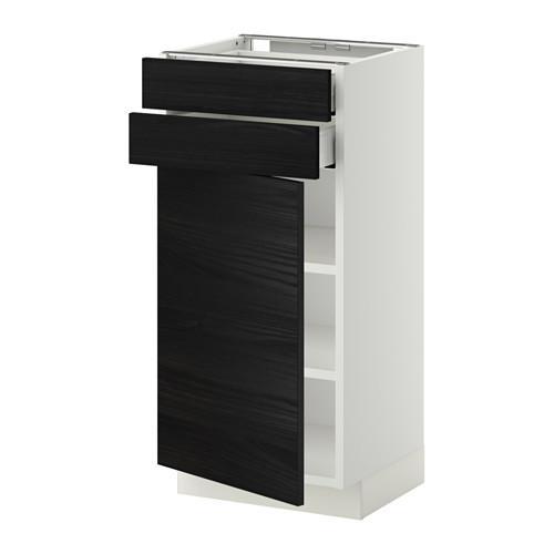 МЕТОД / МАКСИМЕРА Напольный шкаф с дверцей/2 ящиками - 40x37 см, Тингсрид под дерево черный, белый