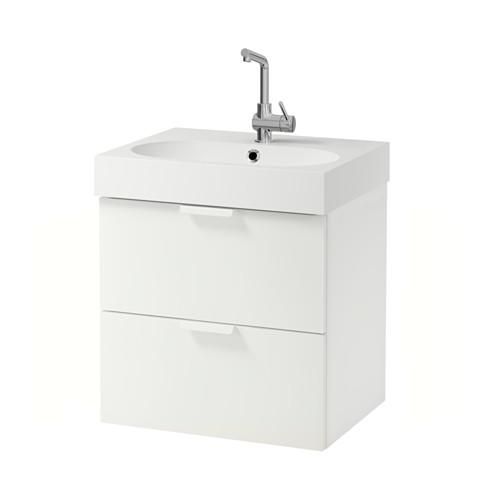 BRÅVIKEN / GODMORGON Waschtischunterschrank mit 2 Schublade weiß