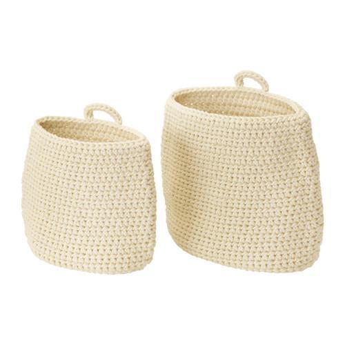 НОРДРЭНА Набор корзин,2 штуки - -, белый с оттенком