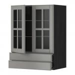 МЕТОД / МАКСИМЕРА Навесной шкаф/2 стек дв/2 ящика - 60x80 см, Будбин серый, под дерево черный