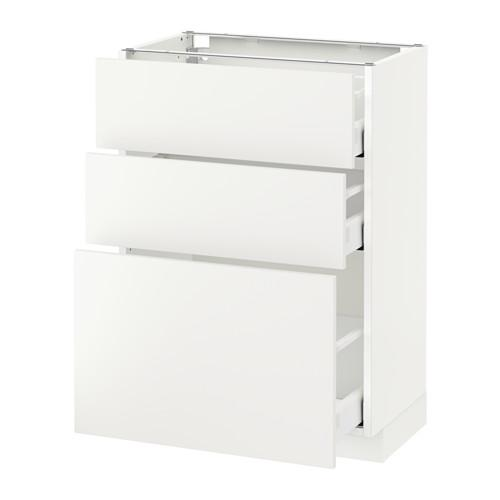МЕТОД / МАКСИМЕРА Напольный шкаф с 3 ящиками - 60x37 см, Хэггеби белый, белый
