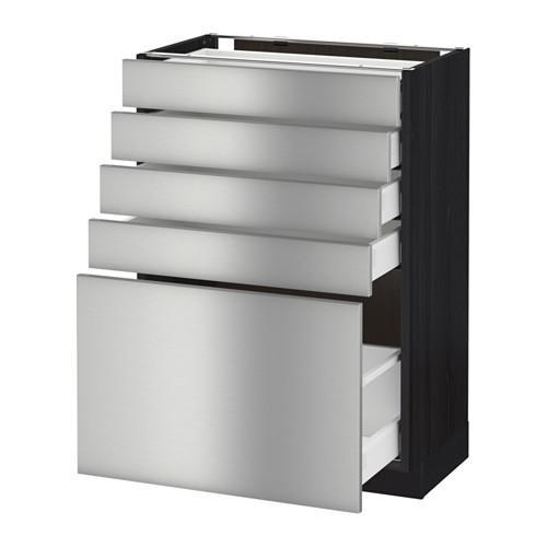 МЕТОД / МАКСИМЕРА Напольный шкаф с 5 ящиками - 60x37 см, Гревста нержавеющ сталь, под дерево черный