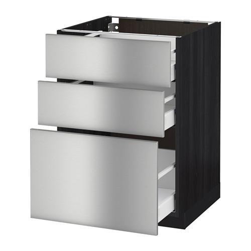 МЕТОД / МАКСИМЕРА Напольный шкаф с 3 ящиками - 60x60 см, Гревста нержавеющ сталь, под дерево черный