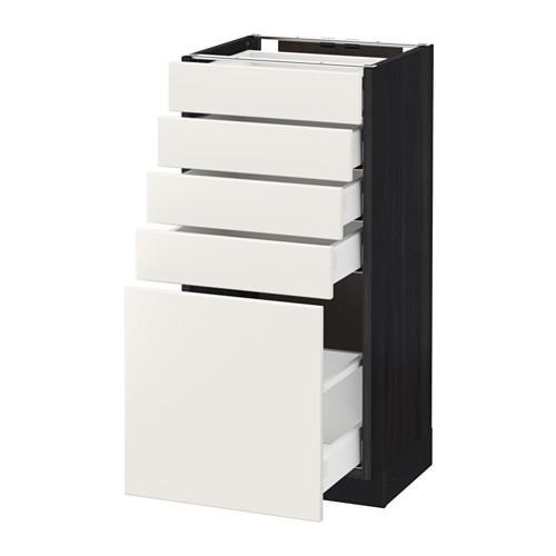МЕТОД / МАКСИМЕРА Напольный шкаф с 5 ящиками - 40x37 см, Веддинге белый, под дерево черный