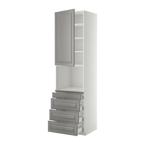 МЕТОД / МАКСИМЕРА Высокий шкаф д/комбинир СВЧ/4 ящика - 60x60x220 см, Будбин серый, белый