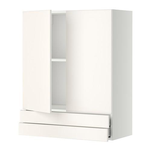 МЕТОД / МАКСИМЕРА Навесной шкаф/2дверцы/2ящика - 80x100 см, Веддинге белый, белый