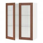 МЕТОД Навесной шкаф с полками/2 стекл дв - 80x100 см, Филипстад коричневый, белый