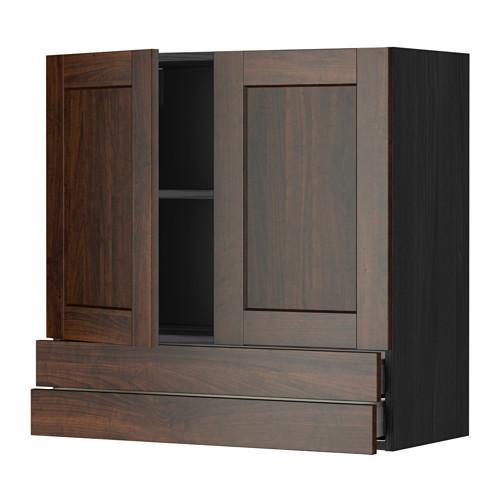МЕТОД / МАКСИМЕРА Навесной шкаф/2дверцы/2ящика - 80x80 см, Эдсерум под дерево коричневый, под дерево черный