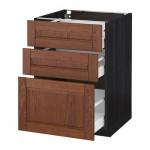 МЕТОД / МАКСИМЕРА Напольный шкаф с 3 ящиками - 60x60 см, Филипстад коричневый, под дерево черный