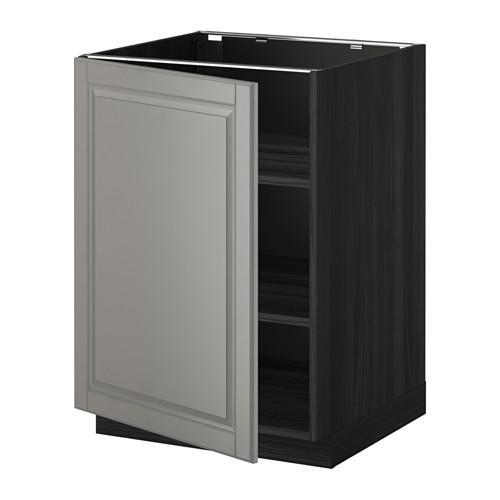 МЕТОД Напольный шкаф с полками - 60x60 см, Будбин серый, под дерево черный