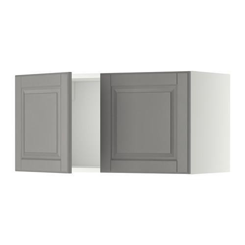 МЕТОД Навесной шкаф с 2 дверями - Будбин серый, белый