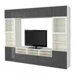 БЕСТО Шкаф для ТВ, комбин/стеклян дверцы - белый/Сельсвикен глянцевый/серый прозрачное стекло, направляющие ящика, плавно закр