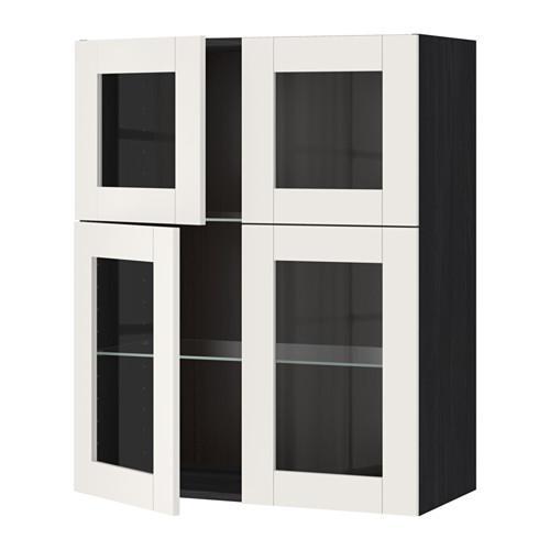МЕТОД Навесной шкаф с полками/4 стекл дв - под дерево черный, Сэведаль белый